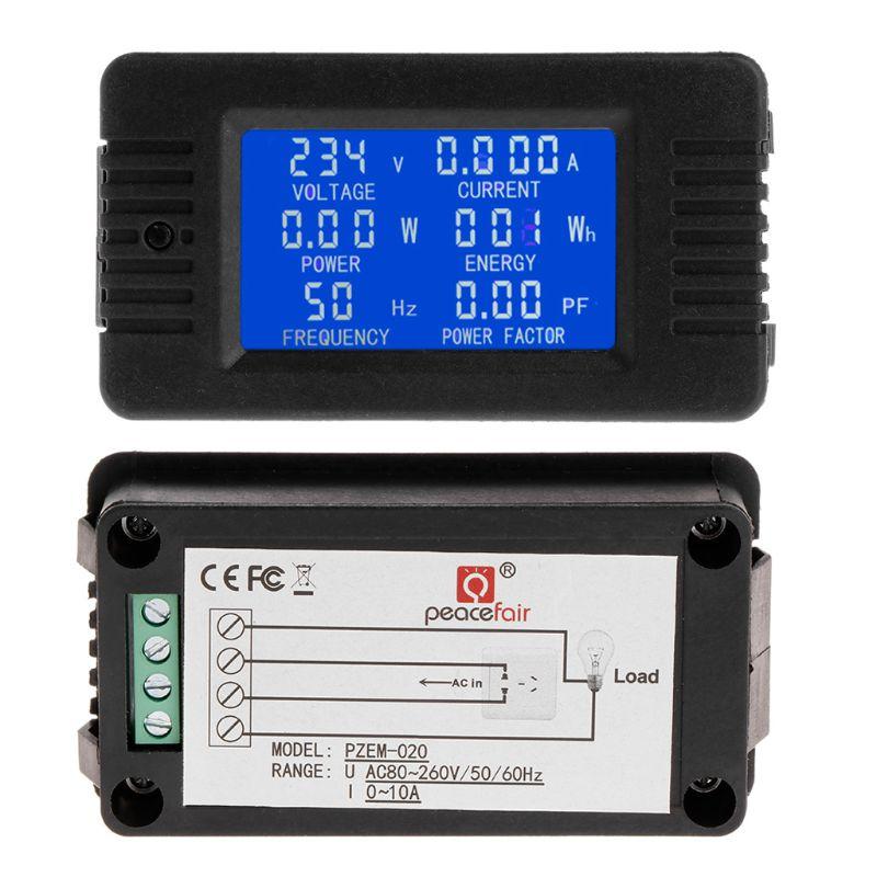 6in1 digital ac 80 260v monitor de energia tensão corrente kwh watt medidor 100a