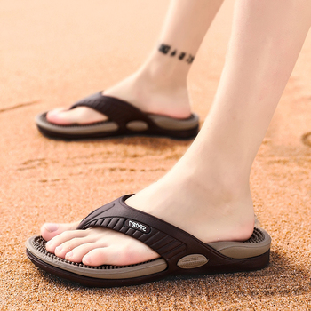 Masaż klapki letnie męskie kapcie plażowe sandały wygodne męskie obuwie moda japonki męskie Hot sprzedam obuwie 2019 tanie i dobre opinie JUMPMORE CN (pochodzenie) Poza RUBBER Niska (1 cm-3 cm) Pasuje prawda na wymiar weź swój normalny rozmiar FLIP FLOPS