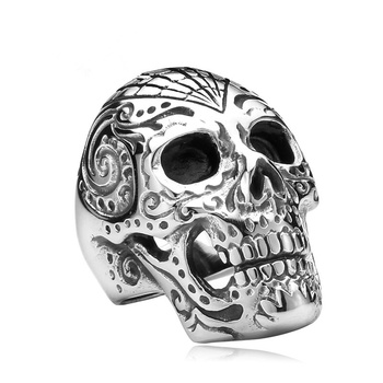 FDLK   Cool Mens Boys 316L Stainless Steel Skull Ring Vintage Punk Titanium Biker Jewelry Size 7-14 vintage silver color stainless steel link motorcycle biker chain boy rings punk rock mens biker jewelry birthday us size 7 12