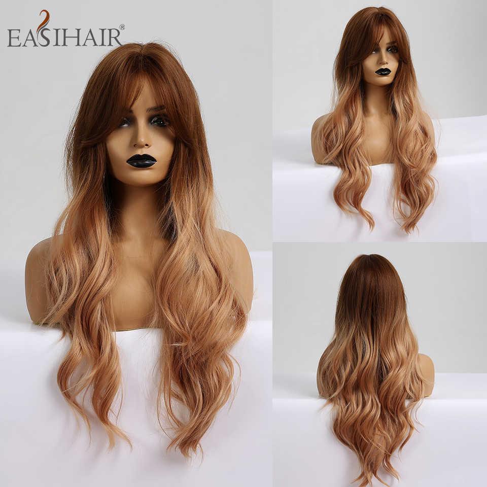 EASIHAIR pelucas sintéticas de pelo largo oscuro para mujer, pelucas de Cosplay con ondas de agua y flequillo resistentes al calor, pelucas de pelo Rosa falso Natural