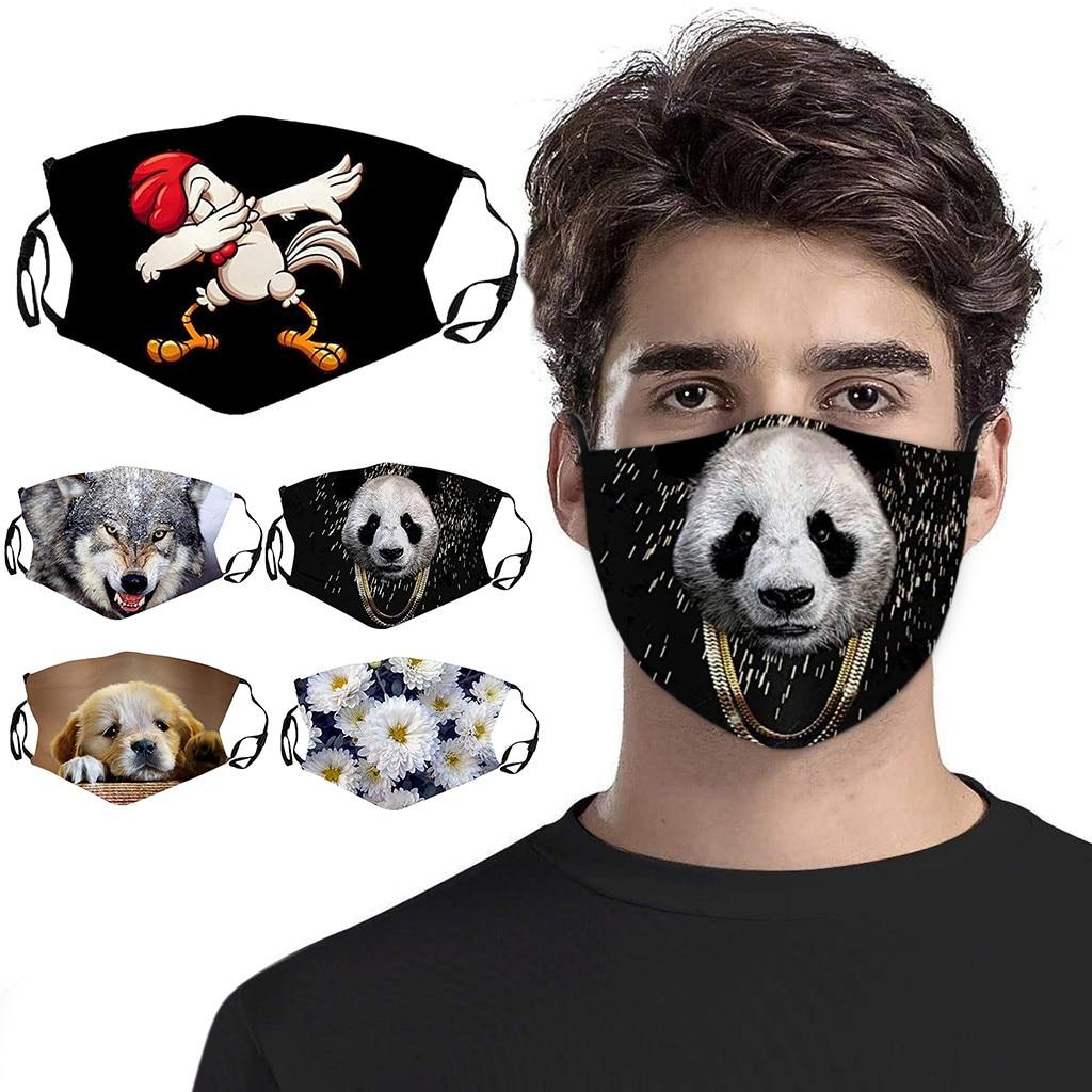 Маска для лица с пандой и животным принтом, пылезащитная защитная маска для лица, моющаяся многоразовая маска, регулируемая маска для лица, маски для рта Женские маски      АлиЭкспресс