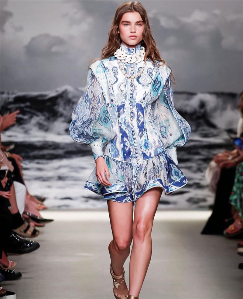 2020 primavera nova retro impressão sexy vestido feminino gola lanterna manga de cintura alta babados mini vestidos moda feminina