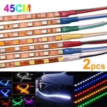 2шт 45 см DRL полоса света водонепроницаемый гибкий автомобильный светодиодный панельная лампа Декоративная полоса для салона автомобиля дневные ходовые огни
