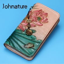 Wallet Purses High-End Johnature Lotus Women Carved Handmade Retro Large-Capacity New