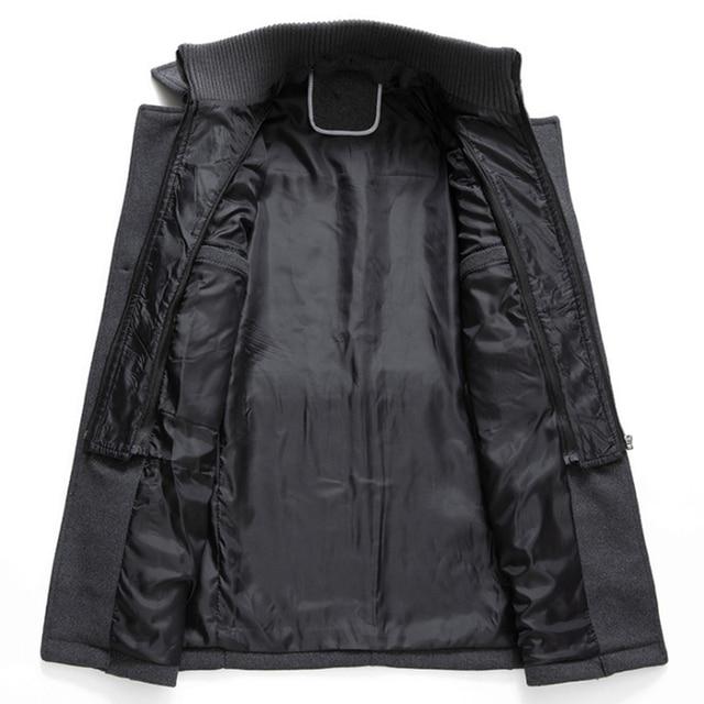 New Men Wool Blends Coats Autumn Winter Solid Color Cold Resistant Men Woolen Overcoat Double Collar Casual Trench Coat Male 3