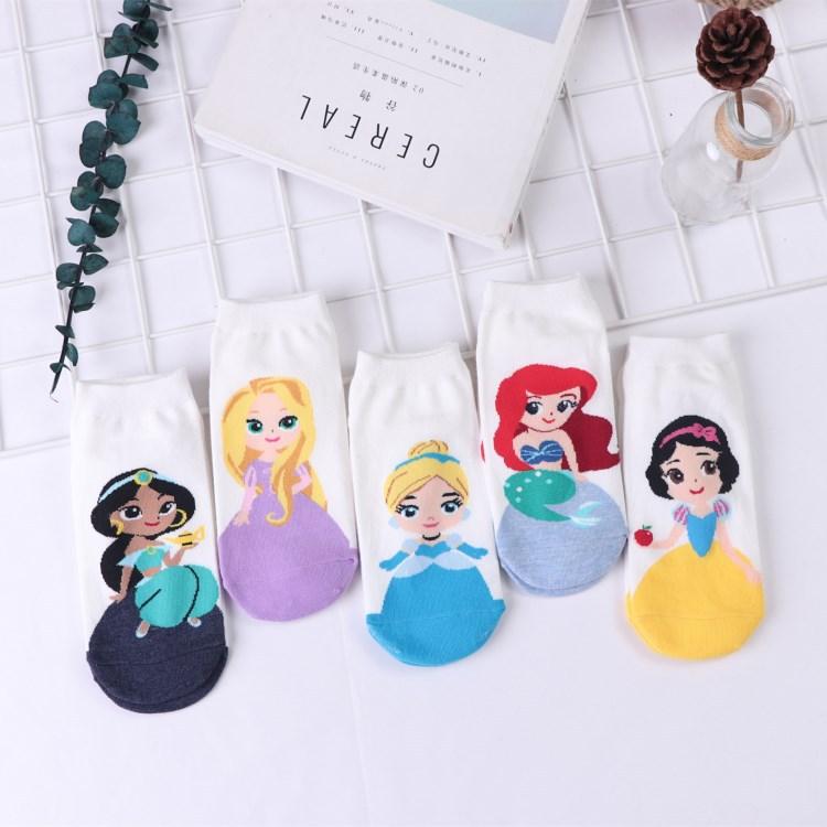 Women Ankle Socks Mermaid Princess Anna Snow White Lovely Cotton Kawaii Harajuku Happy Funny Socks Short Socks Female Cute Sock