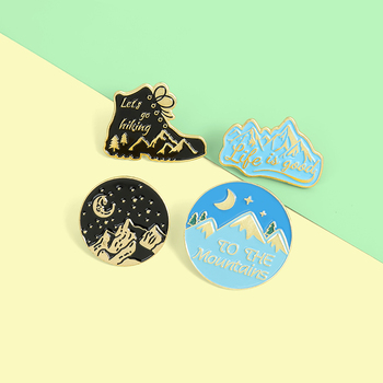 Wild adventure Cartoon Enamel Lapel Pins Go Hiking Outdoors Brooches Badges Fashion Pins Jewelry Gifts for Friends Wholesale image