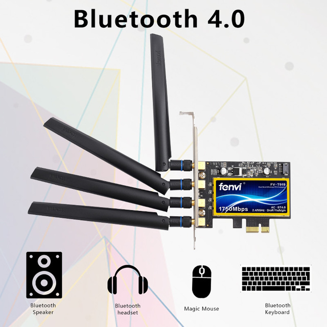 Dual Band 1750Mbps FV-T919 BCM94360CD 802.11AC WIFI Desktop Wireless PCI-E Adapter Bluetooth 4.0 for MAC OS Hackintosh