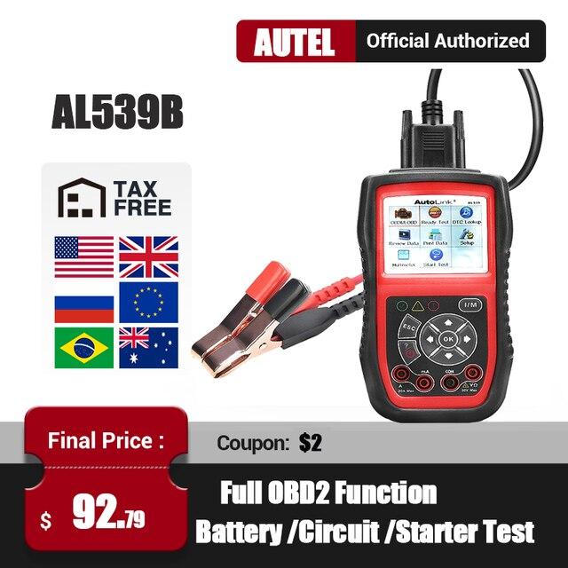 Autel AL539B OBD2 Scanner Automotive Scanner Electrical Test Tool For Car OBD2 Diagnostic Tool EOBD OBD 2 Code Reader PK AL539