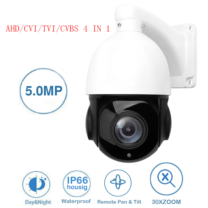 Security CCTV 1080P 2MP 5MP AHD Speed Dome PTZ Camera 30X ZOOM IR 50M Auto Focus IP66 Full HD Analog Pan/Tilt RS485 Control image