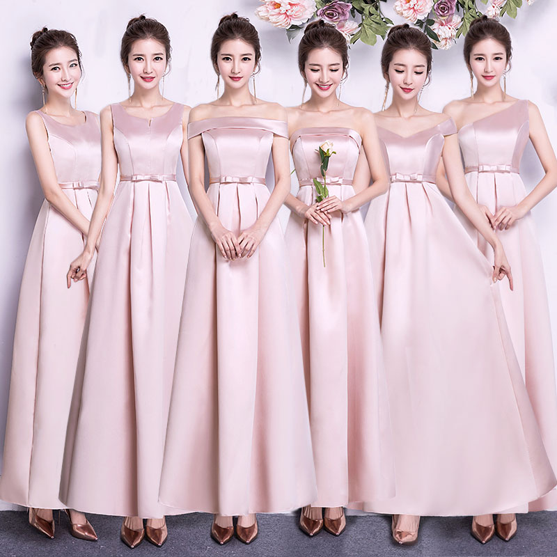 Long Dress For Wedding Party For Woman Bridesmaid Dress Pink Long Prom Dress Champagne Sexy Taffeta Floor-Length Vestidos Mujer