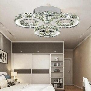 Image 2 - Moderne K9 Kristall LED Decke Lichter Edelstahl 3 Ringe Kronleuchter Plafond Für Küche Esszimmer Leuchte Leuchten