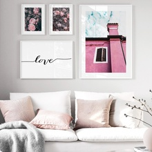 Flowers Pink Building Window Quotes Wall Art Canvas Painting Nordic Posters And Prints Landscape Pictures For Living Room