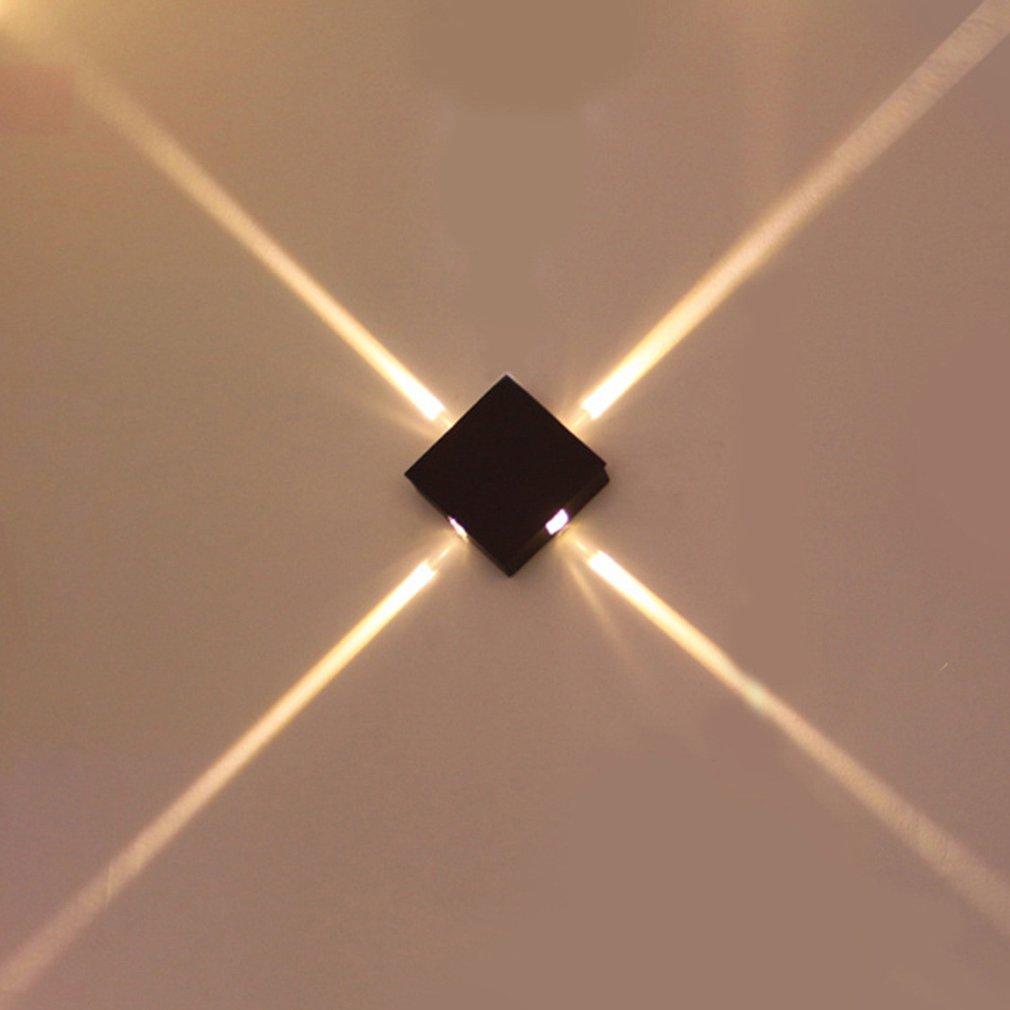 Işıklar ve Aydınlatma'ten LED İç Mekan Duvar Lambaları'de ICOCO 4x3W led duvar lambası başucu yatak odası oturma odası basit Modern yaratıcı otel mühendisliği alüminyum kare satış title=