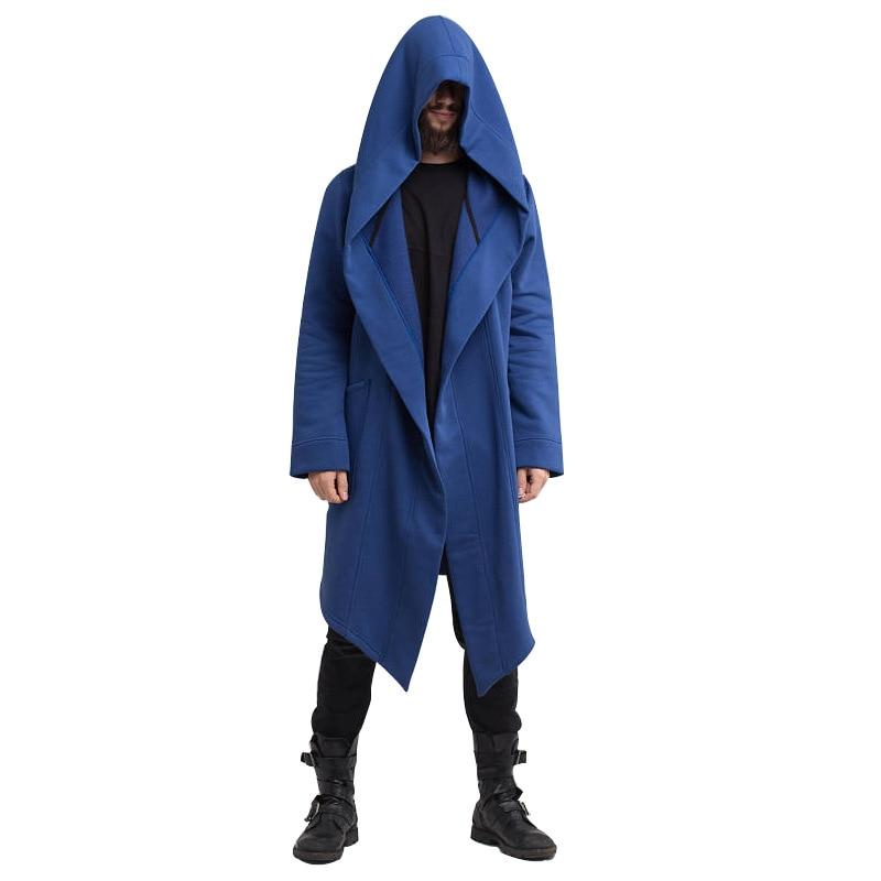 2020 New Men Hooded Sweatshirts Jacket Long Cardigan Cloak Coat Sweater Hoodie Mens Coats Hip Hop Mantle Hoodies Autumn Winter 5