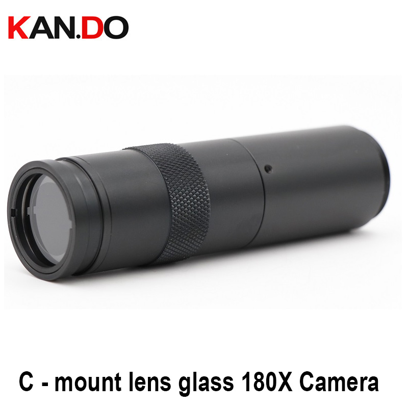 C - Mount Lens CCTV Industry Microscope Camera 180X Camera Magnifier Magnification Adjustable Zoom Eyepiece Magnifie