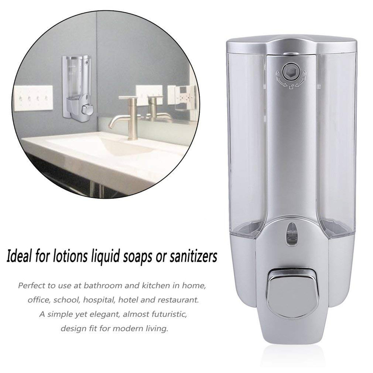 Hbe8dfc521e64436c92f67762acbcb38bY 350ml Hand Soap Dispenser Wall Mount Shower Shampoo Dispensers Containers with Lock for Bathroom Washroom Hand Soap Dispenser
