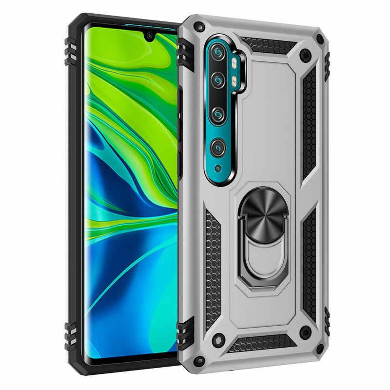 โลหะแหวนโทรศัพท์กรณีสำหรับ Xiaomi Mi หมายเหตุ 10 Note10 Xiaomi Mi Note 10 Pro Mi CC9 Pro เกราะกรณีปกหลัง Capa ETUI Coque>