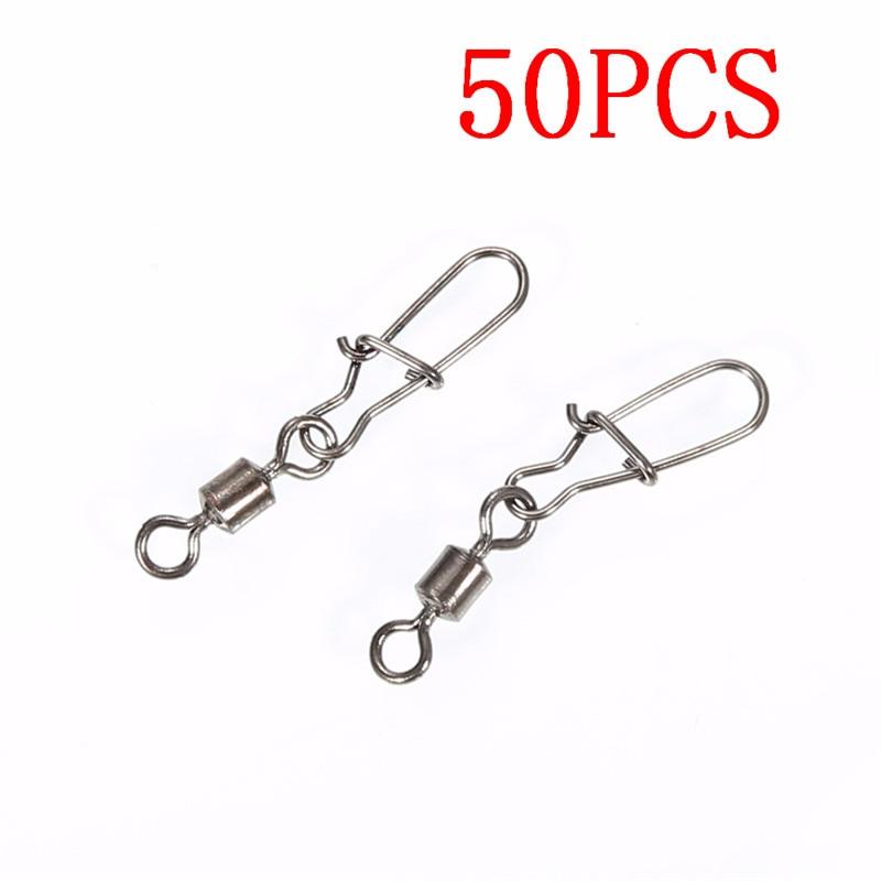 50pcs Fishing Hooks Tackle Ball Bearing Swivel Crane Duo Lock Snap Fishing Hooks Trolling Rigging Sliver Fishing Hook Tool