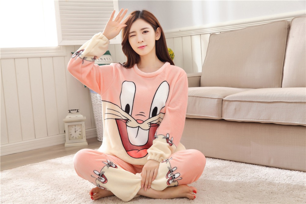 Women Pajamas Set For Autumn cute cartoon pink Women Clothes Sleepwear Nightgown For Women Long Sleeve And Pants Hot Sale pijama 61