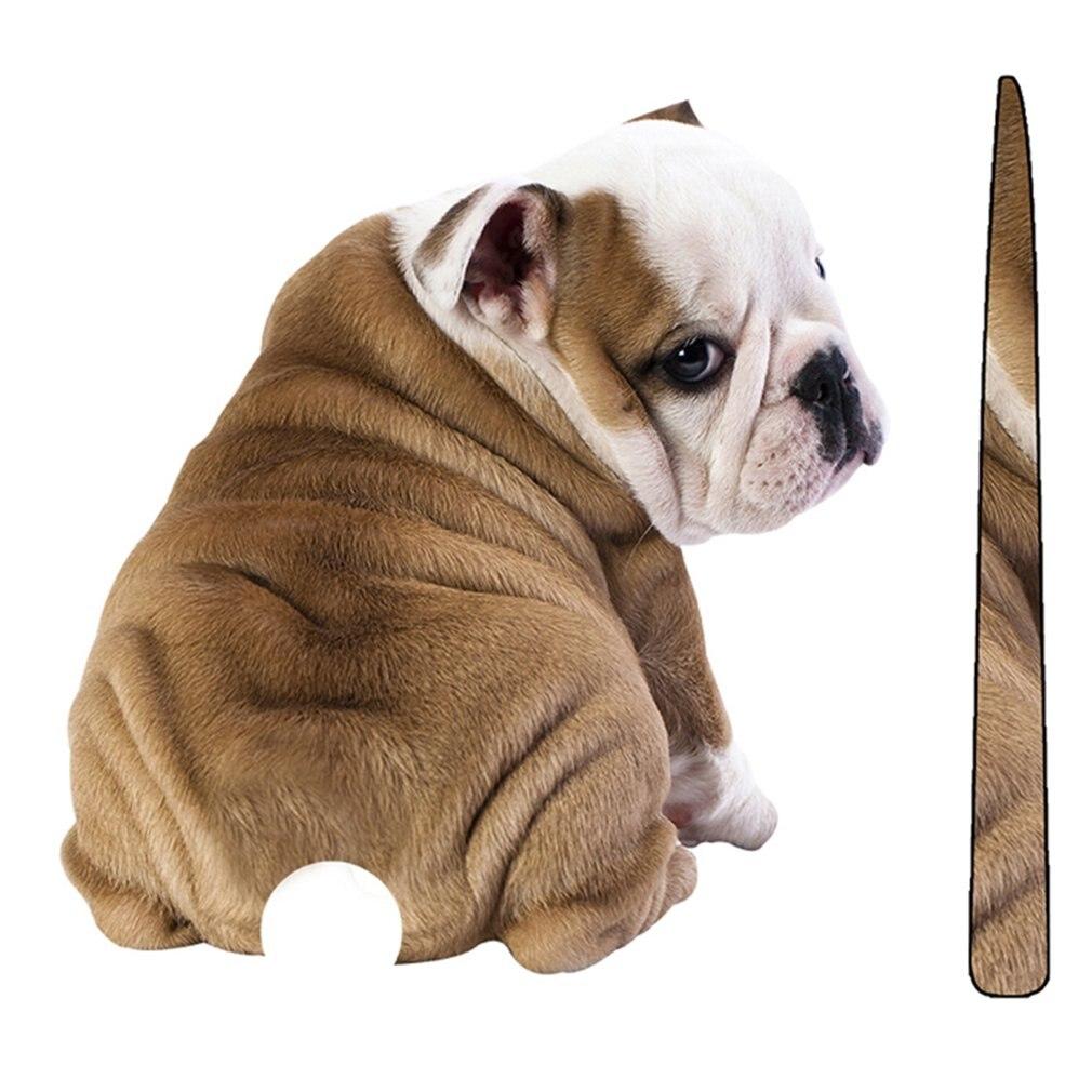 Calcomanías reflectantes para perro Kawaii de dibujos animados, divertidas, con cola móvil, pegatinas para limpiaparabrisas, parabrisas trasero, pegatina caliente