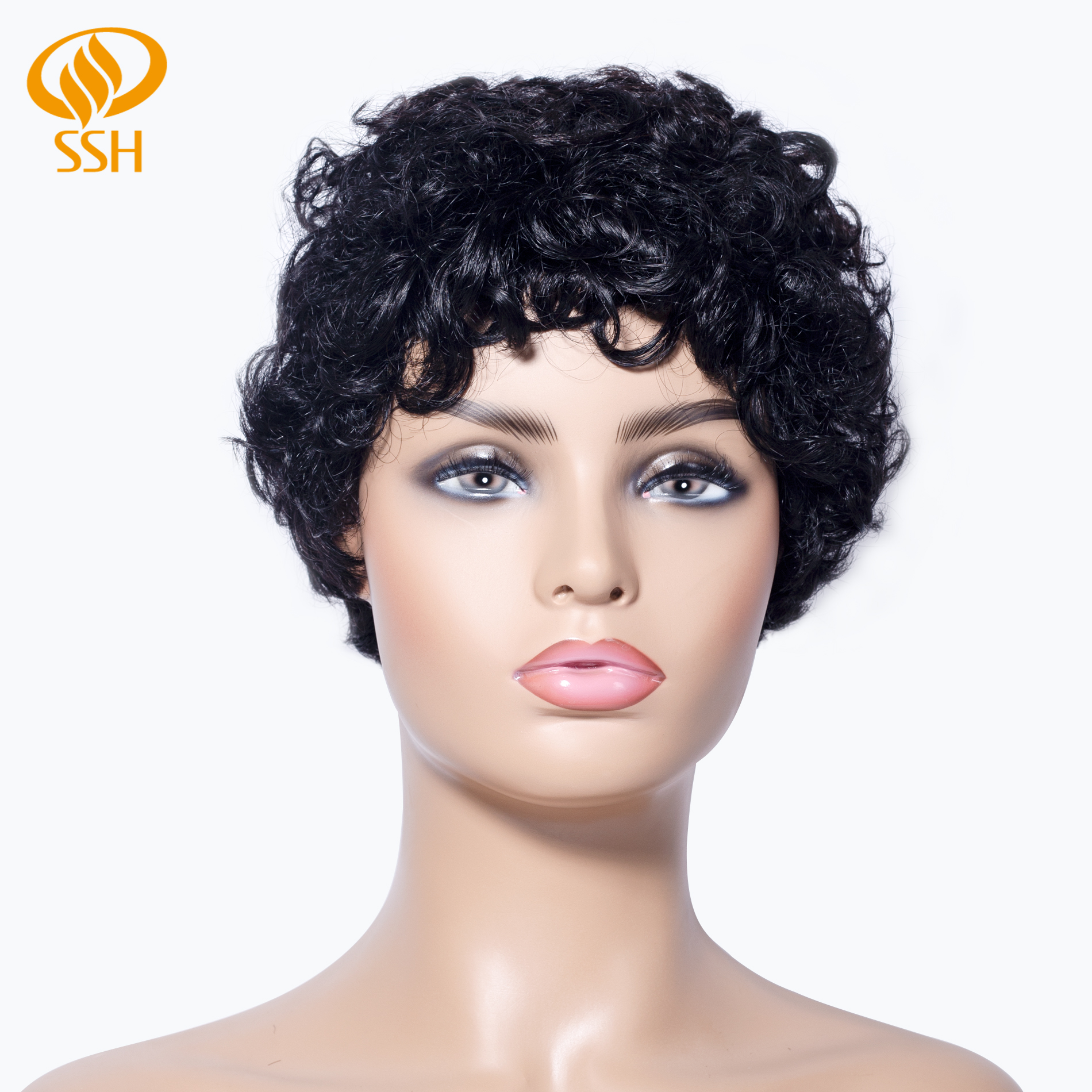 SSH Short Afro Wave Wig Human Hair Black Color With Brazilian Hair Wigs For African Women
