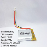 3 line 3.7V thium polymer battery 602535 600MAH Liter energy battery the video recorder 388