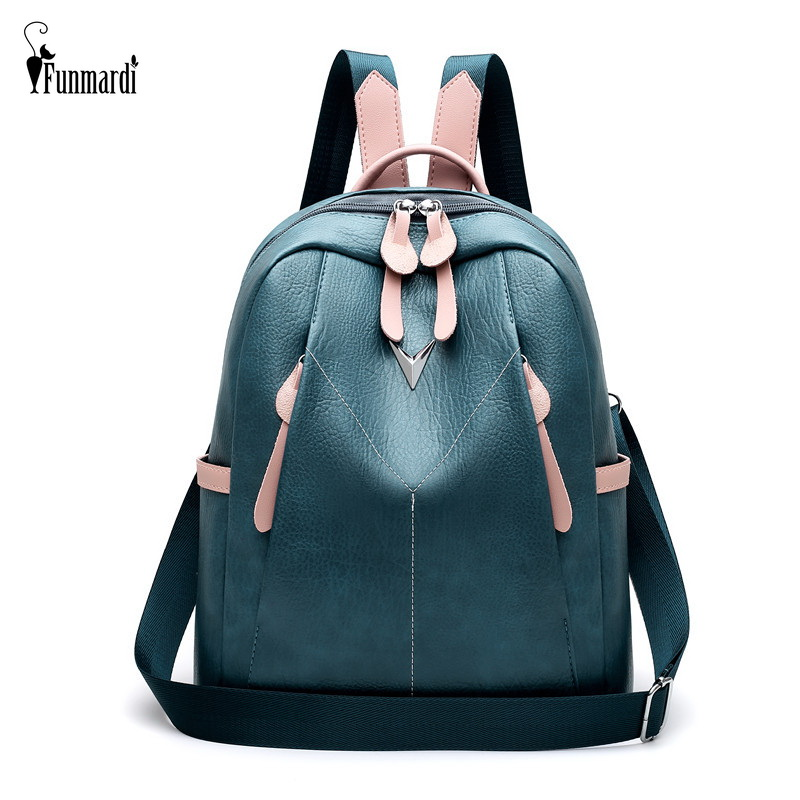 FUNMARDI Multi-function Female Backpack Fashion Panelled Travel Backpack PU Leather Schoolbag For Teen Girls Backpack WLHB2062