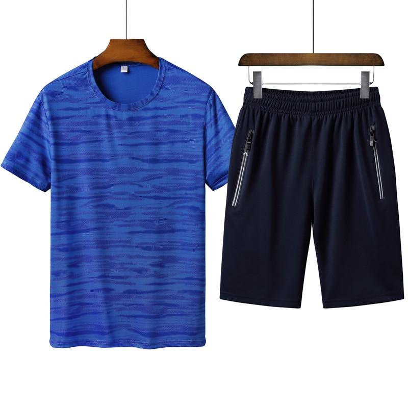 2pcs Summer T-shirts Men Shorts Sets Casual Sportwear Suits Running Short Sleeve T-shirts Male Streetwear Tracksuit Zipper Short
