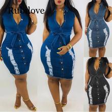 Rubilove Women Dress Sheath Summer Womens Button Down Denim Sexy Ladies Lace Jeans Long Shirt vestido