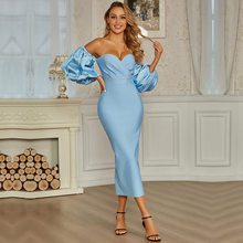 Elegant Blue Lady Dresses Women Party Formal Wedding Evening