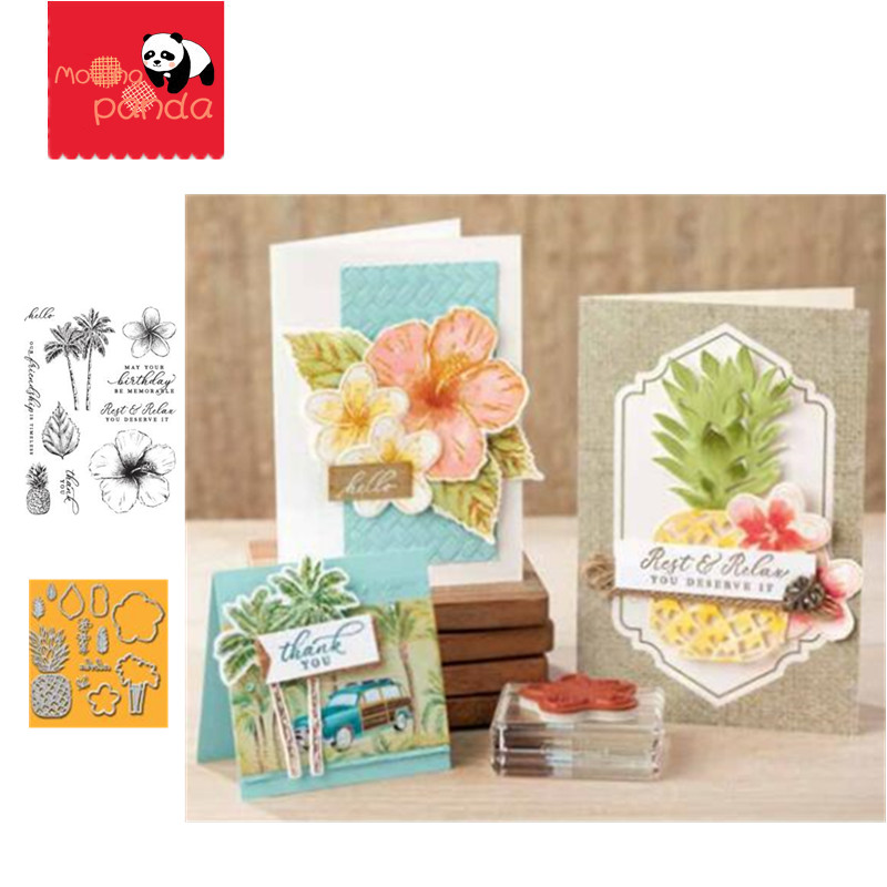 MP056 TROPICAL Pineapple Metal Cutting Dies And Stamps DIY Scrapbooking Craft Die Photo Album Invitation Card Making Decor