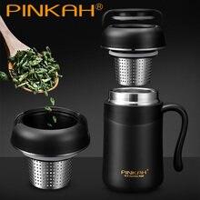 Pinkah-termo con Infusor de té y filtro de café de acero inoxidable, taza de café aislada al vacío para el hogar y la Oficina, taza de té con asa, 380ml