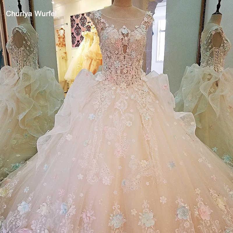 Ls00104 Boho Wedding Dress For Bridal Beading 3d Flowers O Neck
