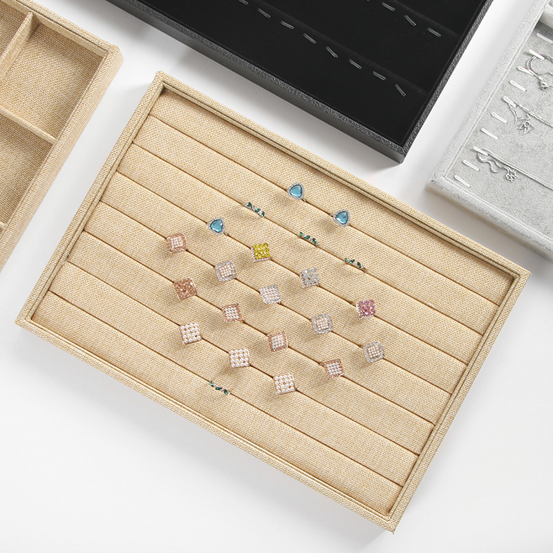 Linen Stackable Jewelry Display Tray Jewellery Organizer Jewelry Storage Box Ring Tray Necklace Storage Dish For Exhibition