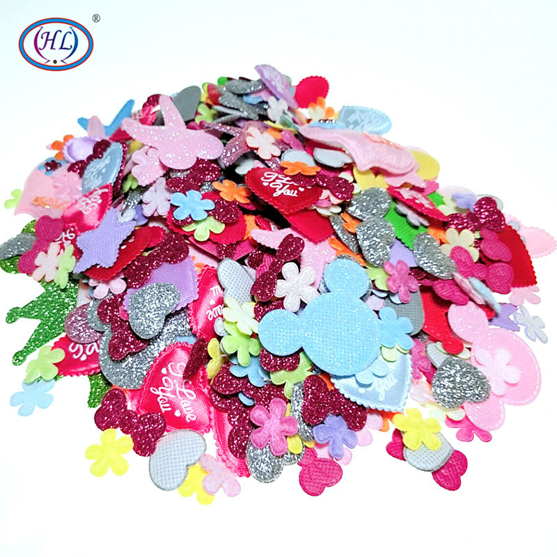 HL 50PCS/200PCS Lots Styles Mixed Padded Felt Appliques For Wedding Headwear Decorations DIY Crafts