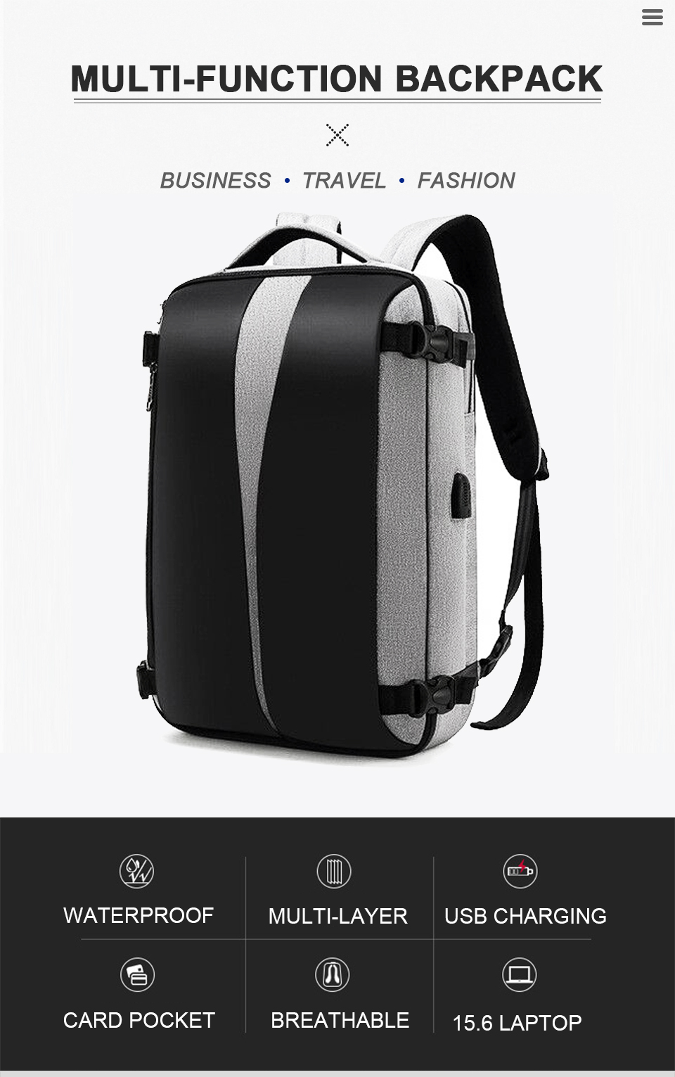 Men Backpack Anti Theft Travel Bagpack Laptop 15.6 Inch Notebook Waterproof Bags USB Charging Male Business Fashion Unisex Bag (1)