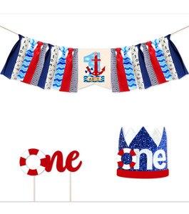 Decoraciones de 1ª cumpleaños para bebé, Banner de silla alta con tema náutico, primera corona para pastel de cumpleaños para niños, suministros de cumpleaños