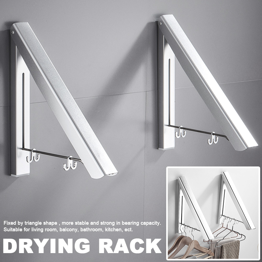 Bathroom Wall-mounted Clothes Rack Drying Rack Folding Drying Rack Free Punch Bedroom Clothes Storage Rack Home Improvement