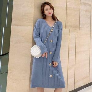Image 5 - Трикотажное хлопковое винтажное платье с длинным рукавом размера плюс, женское Повседневное платье свитер средней длины на осень и зиму, элегантная одежда 2019, женские платья
