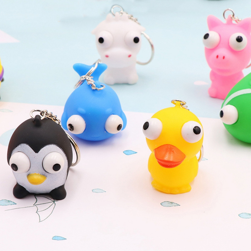 Squeeze Toys Stress Relief Eye Popping Squeeze Toys Cartoon Animal Keychain Anti Stress Fidget Hand Toy Kids Gifts M