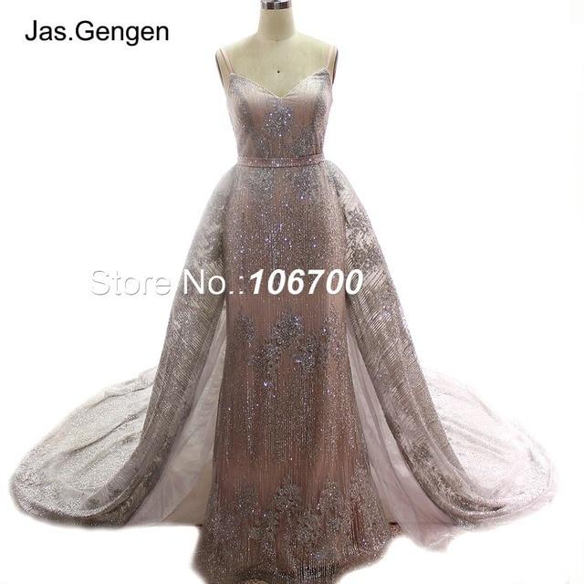 ローブ · ド · 夜会二枚グリッターイブニングドレスウェディングドレス取り外し可能な上ロング列車のスカートブライダルウエディングドレス新