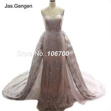 Robe de soirée deux pièces paillettes robe de soirée robe de mariée détachable sur longue jupe de Train robes de bal de mariée nouveau