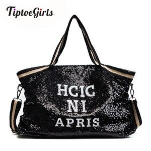 Image 1 - スパンコール女性のバッグ印刷文字女性大容量トップハンドルバッグ女性のハンドバッグ国家カジュアルトートガールメッセンジャーバッグ