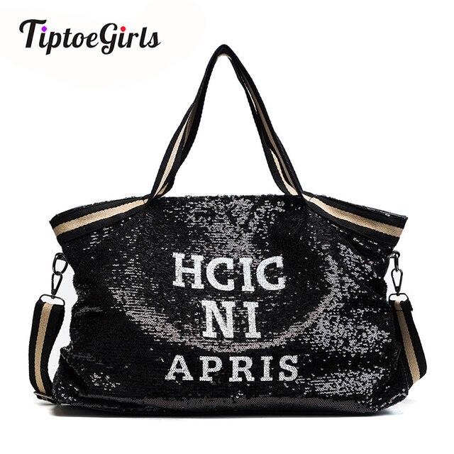 スパンコール女性のバッグ印刷文字女性大容量トップハンドルバッグ女性のハンドバッグ国家カジュアルトートガールメッセンジャーバッグ