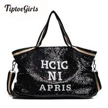Sequin Women Bags Print Letters Female Large Capacity Top Handle Bag Ladys Handbag National Casual Tote Girl Messenger Bag