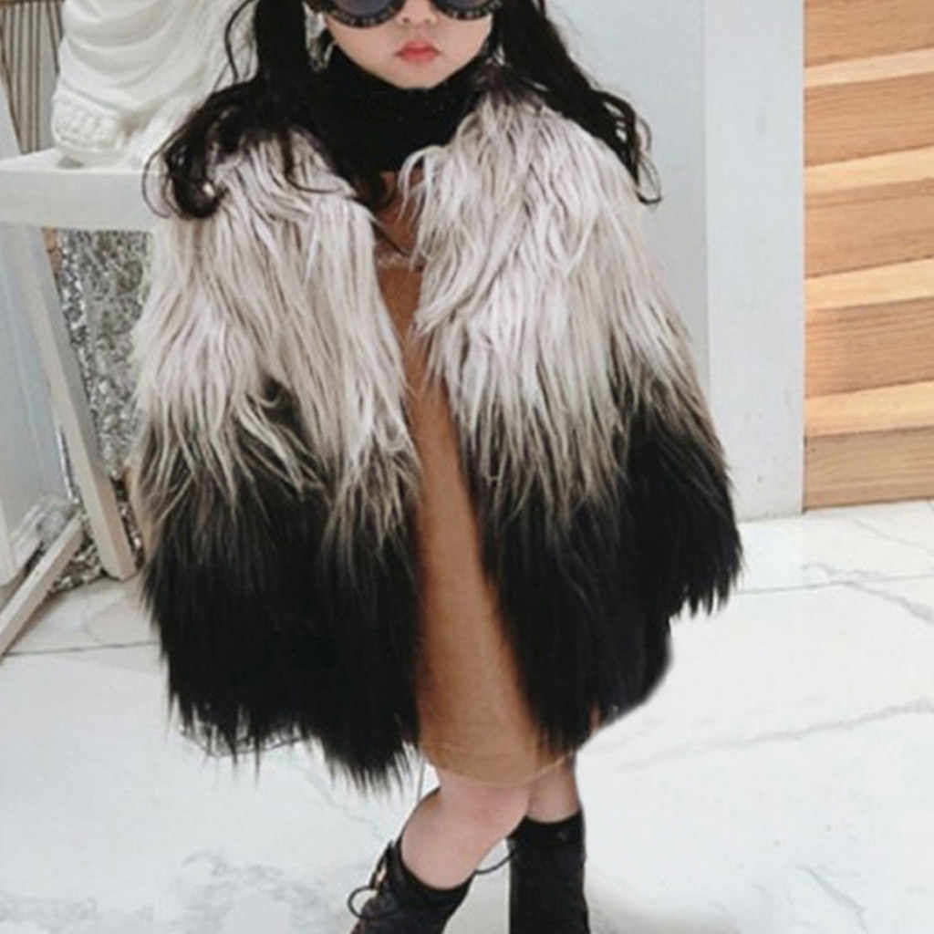 Toddler Baby Girls Faux Fur Jacket Gradient Winter Warm Coat Thick Clothes Plush Fur Jacket Zipper Long Sleeve Casual Overcoat