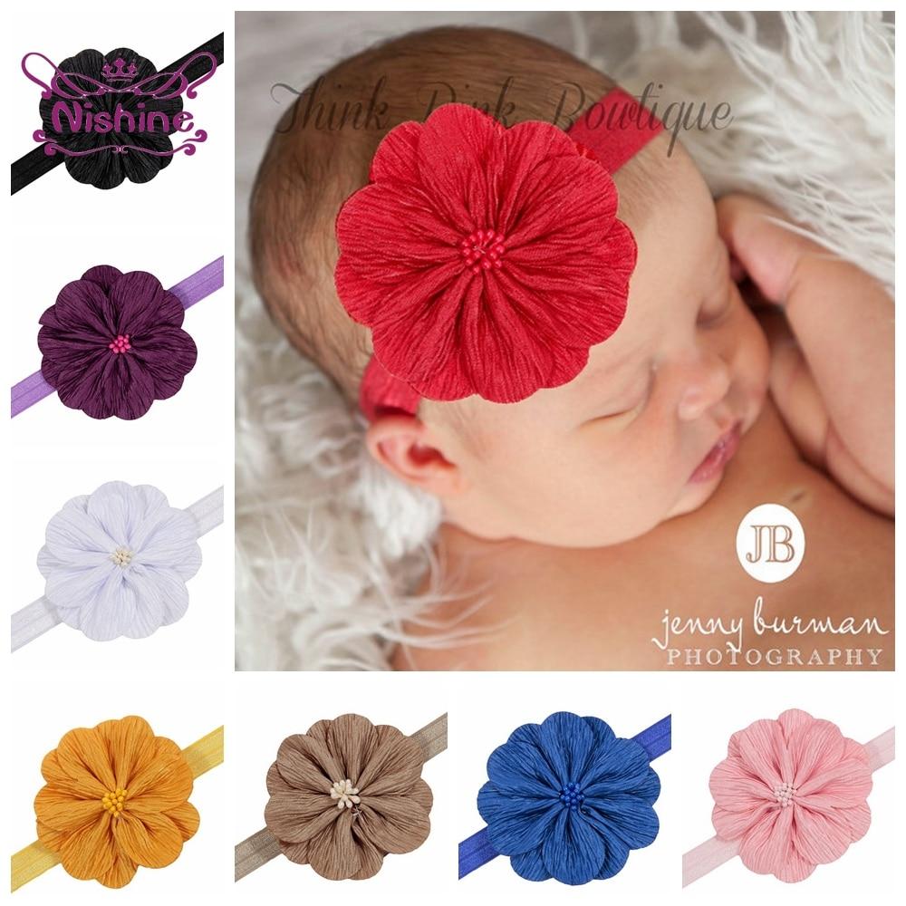 Nishine Neue 10 teile/los Blume Baby Mädchen Stirnbänder Kinder Elastische Floral Headwear Nette Fotografie Requisiten Kinder Haar Zubehör