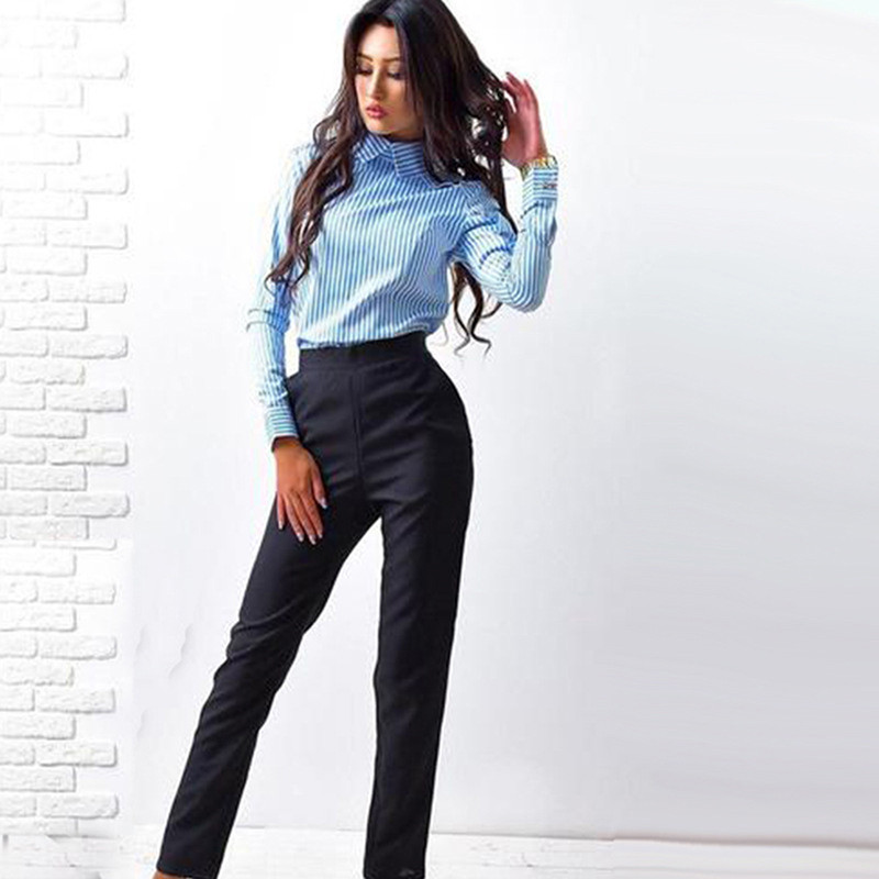 Elegant Button Striped Shirt Women 2020 Winter Turn-down Collar Long Sleeve Shirt Vintage Womens Tops And Blouses Female