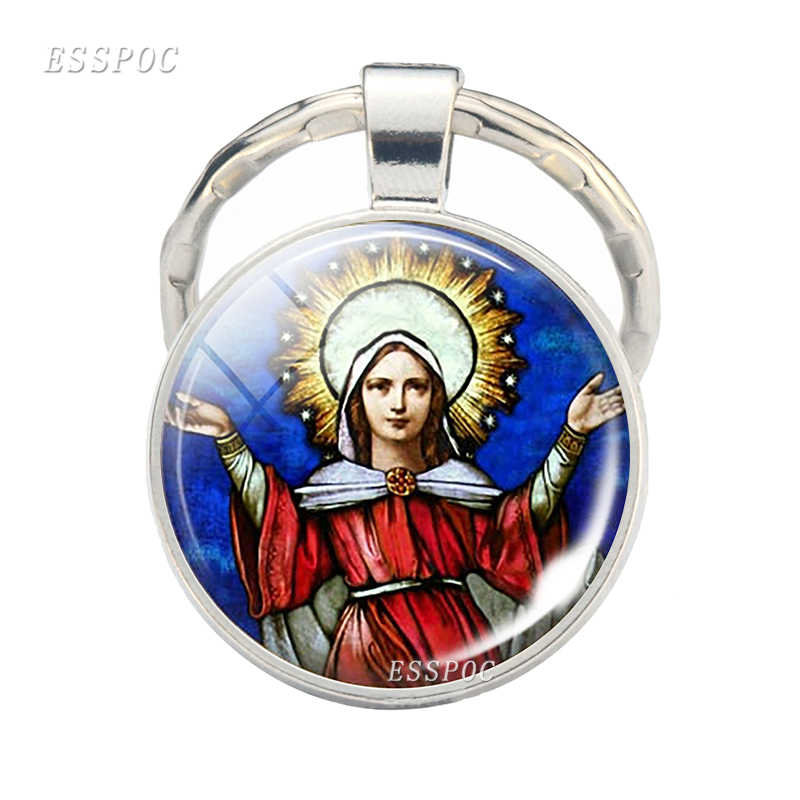 Virgin and The Angels Keychain Keyring Christmas Gift Virgin Mary Glass Cabochon Virgin Mary Photo Key Ring Chain Fashion